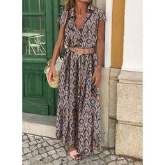 Print Short Sleeves A-line Shirt/Skater Casual/Vacation Maxi Dresses