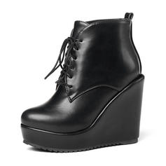Women's Leatherette Wedge Heel Pumps Platform Wedges Boots Ankle Boots With Lace-up shoes