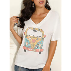 Print V-Neck 1/2 Sleeves T-shirts