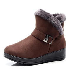 Women's Cloth Wedge Heel Mid-Calf Boots Snow Boots With Buckle shoes
