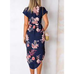 Print/Floral Short Sleeves Sheath Asymmetrical Casual/Boho/Vacation Dresses