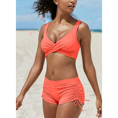 Solid Color String Strap V-Neck Plus Size Eye-catching Bikinis Swimsuits