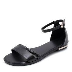 De mujer Cuero Tacón plano Sandalias con Rhinestone zapatos