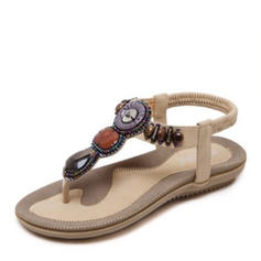 Women's Leatherette Flat Heel Sandals Flats Flip-Flops With Rhinestone Beading shoes