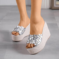 Women's PU Wedge Heel Sandals Slippers With Sequin shoes