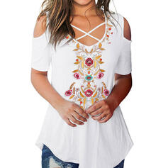 Print Floral Cold Shoulder 1/2 Sleeves Casual T-shirts