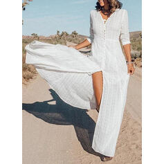Lace 1/2 Sleeves A-line Casual/Vacation Maxi Dresses