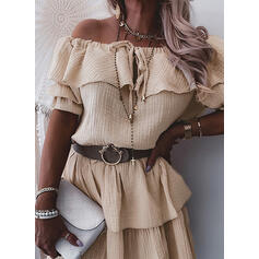 Solid 1/2 Sleeves A-line Above Knee Casual Skater Dresses