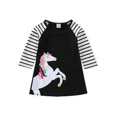 Girls Round Neck Striped Animal Casual Dress