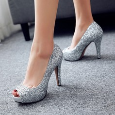 Kvinder Mousserende Glitter Stiletto Hæl Pumps Kigge Tå med Mousserende Glitter sko