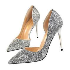 Kvinder Mousserende Glitter Stiletto Hæl sandaler Pumps Lukket Tå sko