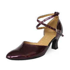 Women's Ballroom Heels Pumps Patent Leather With Ankle Strap Ballroom