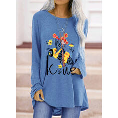 Animal Print Floral Letter Round Neck Long Sleeves T-shirts