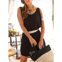 Solid Sleeveless Sheath Above Knee Little Black/Casual/Vacation Dresses