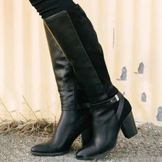Women's PU Chunky Heel Pumps Boots Knee High Boots With Buckle shoes