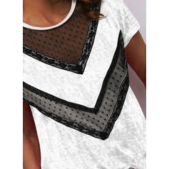 Lace PolkaDot Round Neck Short Sleeves Casual Blouses
