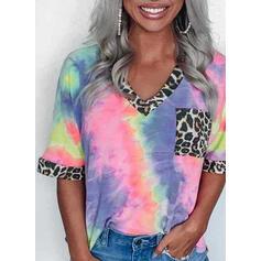 Estampado Retalhos Leopardo Decote em V 1/2 Manga Casual Camisetas