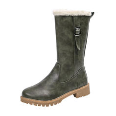 Women's PU Low Heel Mid-Calf Boots Snow Boots With Buckle shoes