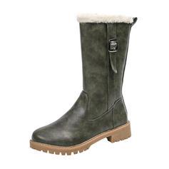 Női PU Alacsony sarok Mid-Calf Csizma Hótaposó -Val Csat cipő