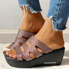 Donna PU Zeppe Sandalo Punta aperta Ciabatte con Cava-out scarpe