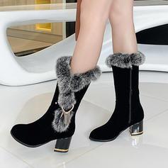 Квадратні підбори Чоботи середньої довжини Снігові чоботи з Блискавка взуття