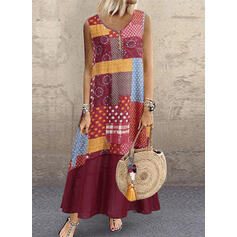 Print/Patchwork Sleeveless Shift Casual/Boho/Vacation Maxi Dresses