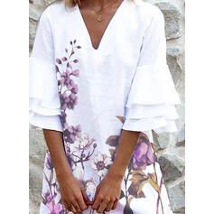 Print/Floral 3/4 Sleeves/Flare Sleeves Shift Above Knee Casual Dresses