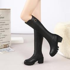 Naisten Keinonahasta Chunky heel Kengät Knee saappaat jossa Solki kengät
