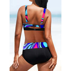 High Waist Print Splice color Strap V-Neck Sexy Vintage Boho Bikinis Swimsuits