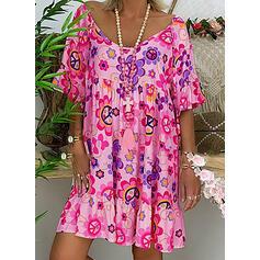Print/Floral 1/2 Sleeves Shift Knee Length Casual/Boho/Vacation Dresses
