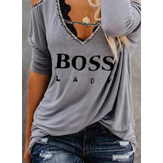 Print Figure Beaded Cold Shoulder Long Sleeves Casual Blouses