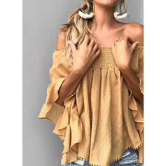 Solid Off the Shoulder Flare Sleeve 3/4 Sleeves Elegant Blouses