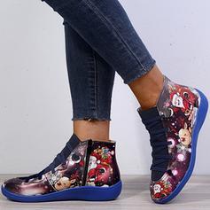 Donna PU Senza tacco Martin boots con Animale Stampa Allacciato scarpe