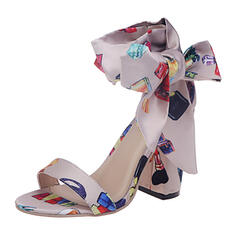 Naisten Keinonahasta Chunky heel Sandaalit Avokkaat Peep toe jossa Bowknot kengät