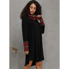 Plaid Long Sleeves Shift Knee Length Casual Tunic Dresses