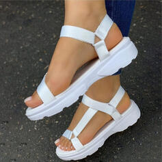 Women's Canvas Flat Heel Sandals Pumps Platform Peep Toe With Hollow-out Velcro shoes