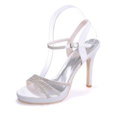 Dla kobiet Satin Szpilki Peep Toe Platforma Sandały Pantofle Z Klamra Rhinestone