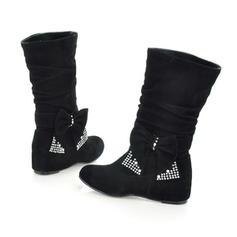 Pentru Femei Imitaţie de Piele Fară Toc Balerini Închis la vârf Cizme Cizme până la jumătatea gambei pantofi