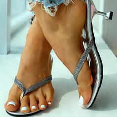Women's PU Kitten Heel Sandals Peep Toe Slippers With Rhinestone shoes