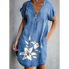 Print/Floral Short Sleeves Shift Knee Length Casual/Denim Tunic Dresses
