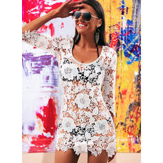 Solid Color Round Neck Elegant Cover-ups Swimsuits