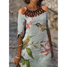 Print/Floral/Animal 1/2 Sleeves Cold Shoulder Sleeve Shift Knee Length Casual Tunic Dresses
