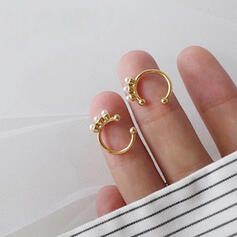 Fashionable Simple Alloy With Imitation Pearl Earrings (Set of 2)