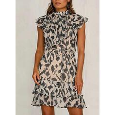 Leopard Short Sleeves Bodycon Above Knee Casual/Elegant Dresses