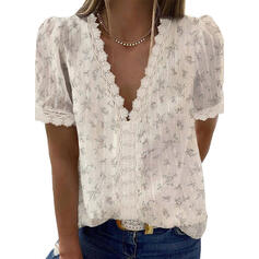 Print Floral Lace V-Neck Short Sleeves Casual Elegant Blouses