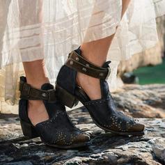 Dla kobiet PU Obcas Slupek Botki Z Klamra obuwie