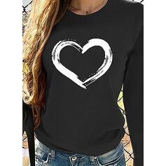 Print Hjärta Round Neck Långa ärmar Fritids T-shirts