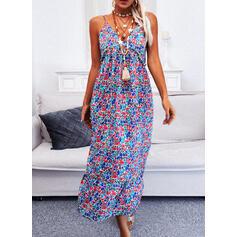 Print/Floral/Backless Sleeveless A-line Slip/Skater Sexy/Boho/Vacation Maxi Dresses