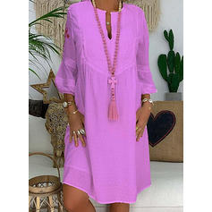 Solid Long Sleeves Shift Knee Length Casual/Elegant Dresses