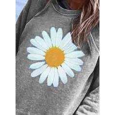 Estampado Floral Gola Redonda Manga Comprida Casual Camisetas